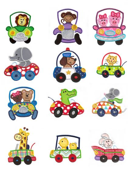 Cute Animals in Cars Applique Machine Embroidery Designs