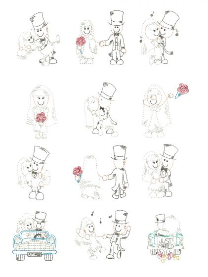 Stix Family Wedding Vintage Stitch Machine Embroidery Designs By JuJu
