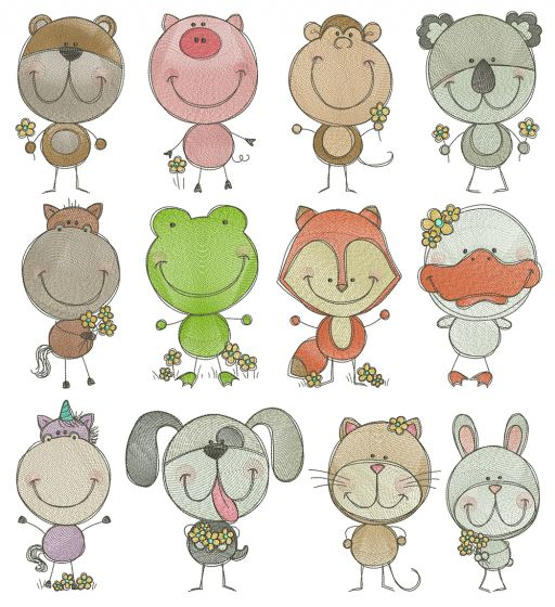 Scribble Critters Filled Stitch Machine Embroidery Designs by JuJu