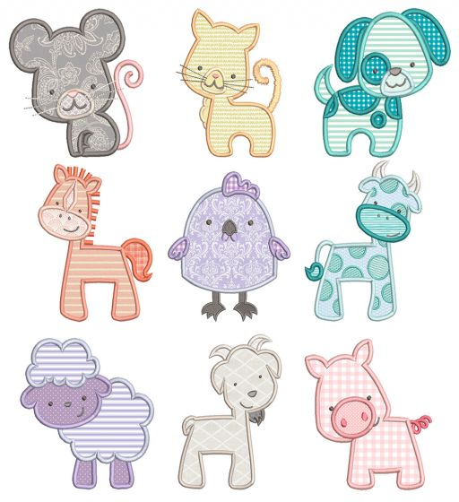 Simply Farm Critters Applique Machine Embroidery Designs By JuJu