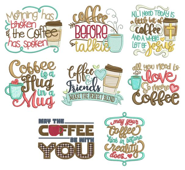 Coffee Word Art Set 1 Machine Embroidery Designs by JuJu