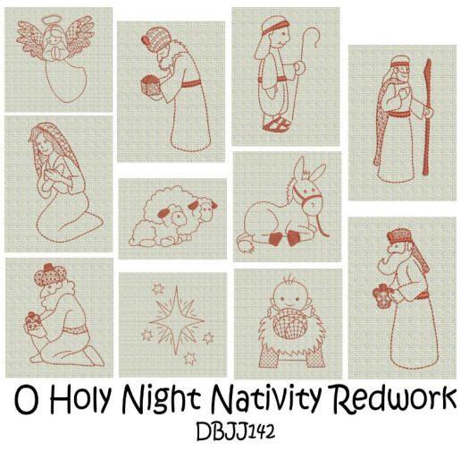 O Holy Night Nativity Redwork