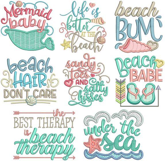 Beach Word Art 1 Machine Embroidery Designs By JuJu
