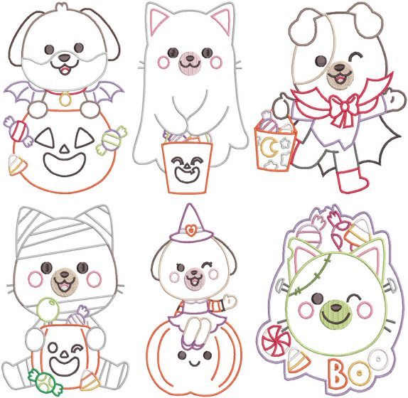 Halloween Puppies and Kittens Digital Machine Embroidery Designs by JuJu