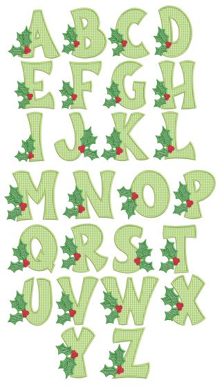 Holly Applique Alphabet Machine Embroidery Designs By JuJu
