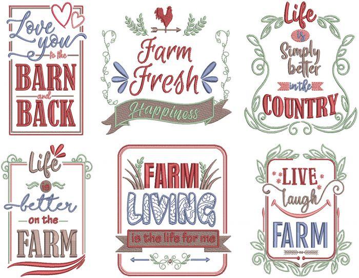 Farm Fresh 6 Machine Embroidery Farm Style Word Art Designs Patterns