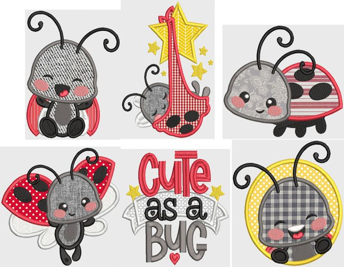 Silly Ladybugs Digital Machine Embroidery Designs by JuJu