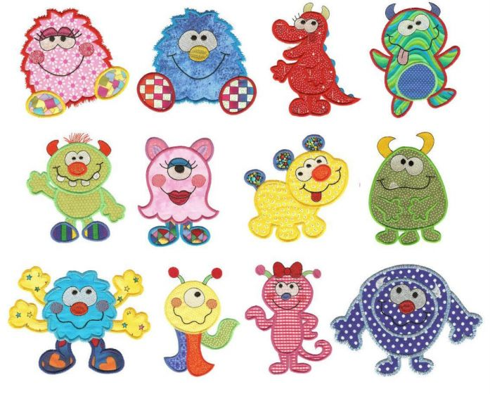 Cute monster bash applique machine embroidery designs