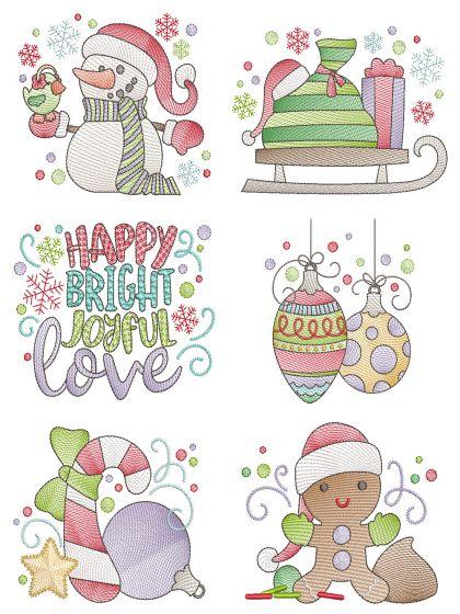 Be Jolly 4 Sketch Machine Embroidery Designs By JuJu