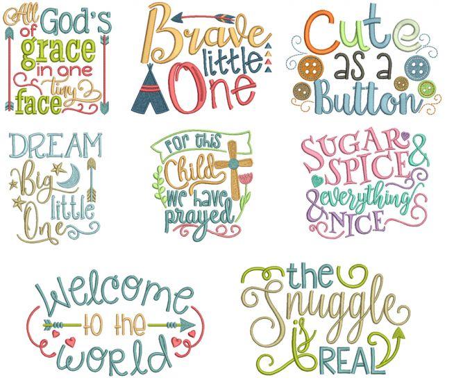 Baby Word Art Set 1 Machine Embroidery Designs by JuJu