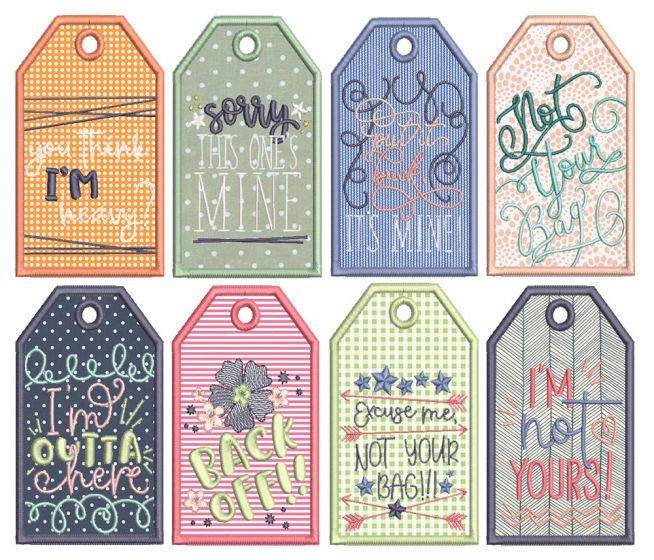 In The Hoop Sassy Luggage Tags