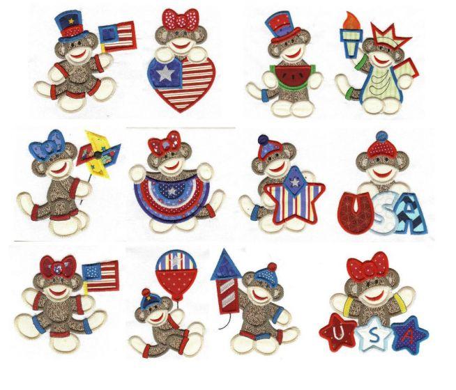 Patriotic sock monkeys applique machine embroidery designs by juju.