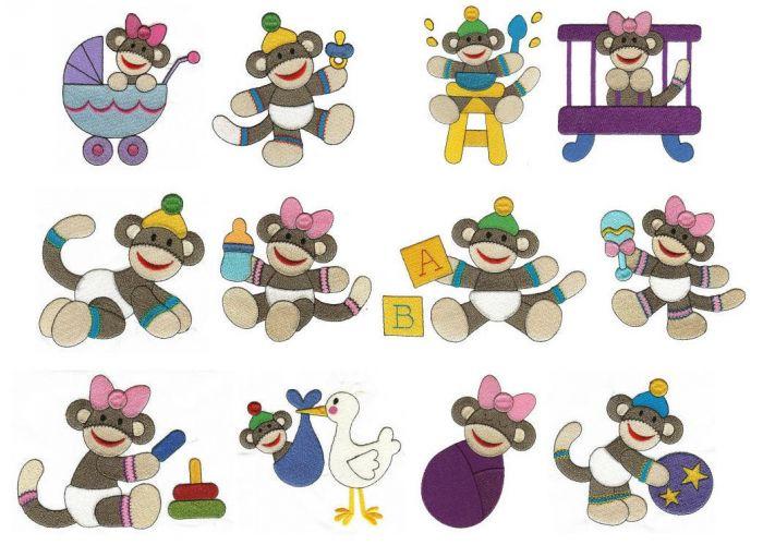 Sock monkey babies filled stitch machine embroidery designs.