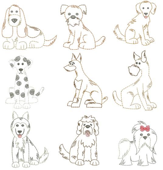 Top Dogs Vintage Stitch Set 1 Machine Embroidery Designs by JuJu