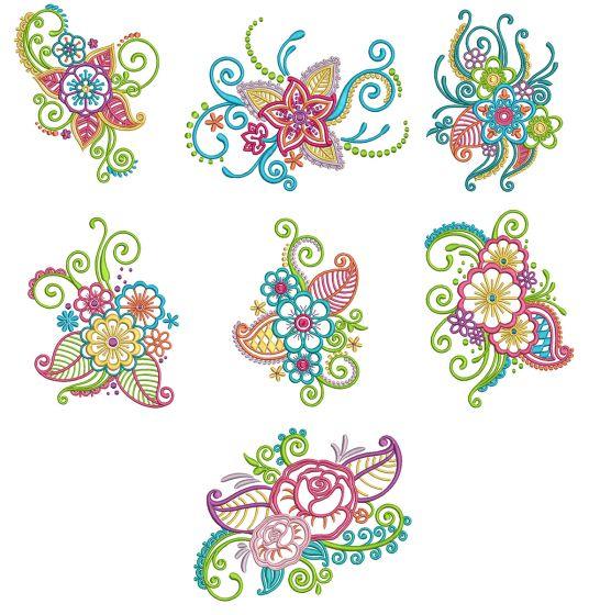 Mehndi Flowers Set 1 Machine Embroidery Designs by JuJu
