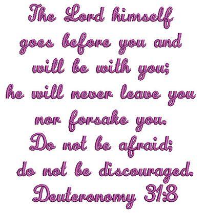 Deuteronomy 31:8 free bible verse machine embroidery design