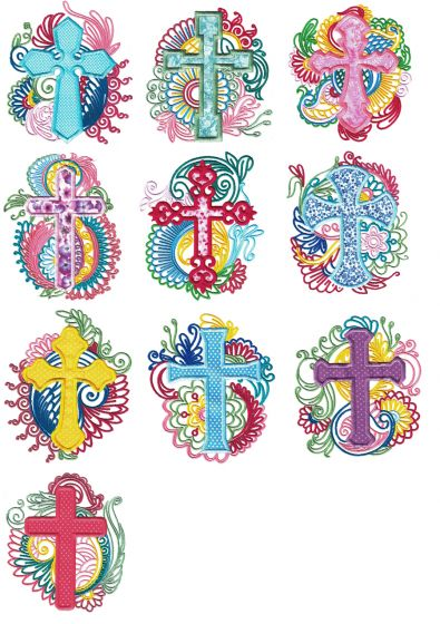 Ornate Mehndi Applique Crosses Machine Embroidery Designs by JuJu