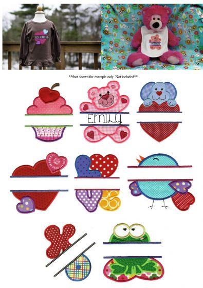 Cute split valentine applique machine embroidery designs
