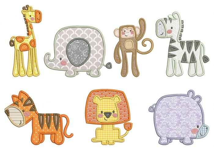 Boxy Jungle Animals Applique Machine Embroidery Designs by JuJu