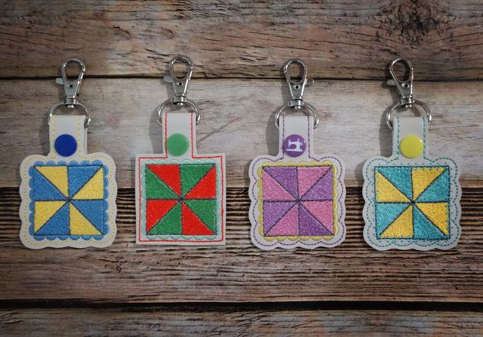In The Hoop Snap Tab Key Fob Pinwheel Quilt Block Designs by JuJu Machine Embroidery Designs
