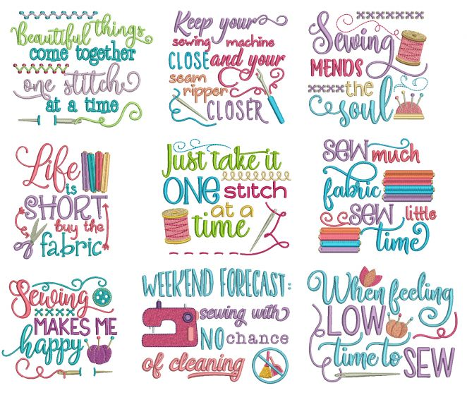 Sewing Sayings Set 2 Machine Embroidery Designs by JuJu