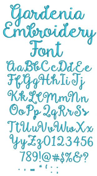 Gardenia Script Embroidery Font Machine Embroidery Designs by JuJu