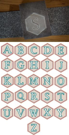 Hexagon Embossed Monogram Alphabet Machine Embroidery Designs by JuJu