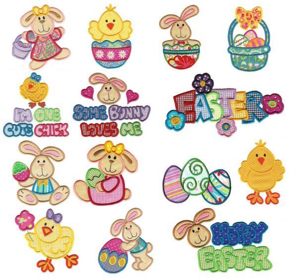 Easter bunny hop applique machine embroidery designs