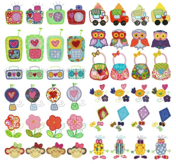 Girls world applique machine embroidery designs