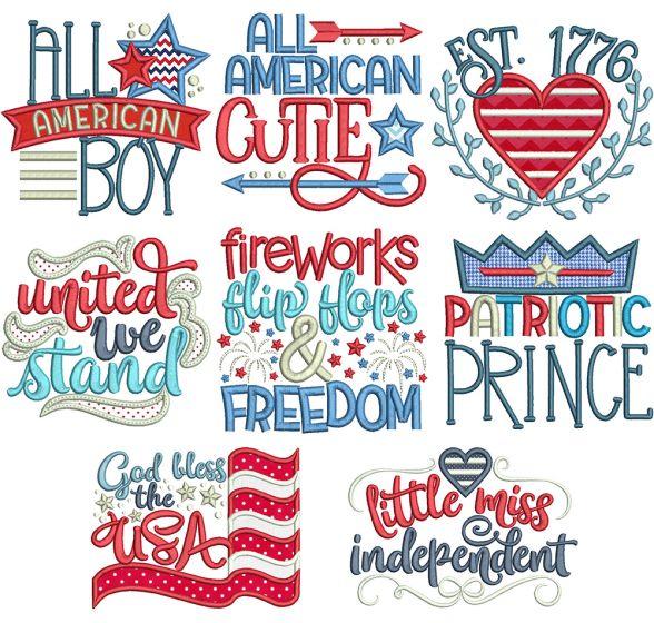 Patriotic Word Art Machine Embroidery Designs By JuJu