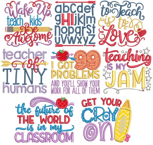 Teacher Word Art Machine Embroidery Designs By JuJu