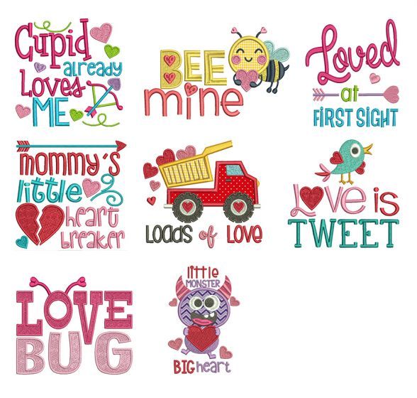 Valentine Word Art Set 2 Machine Embroidery Designs by JuJu