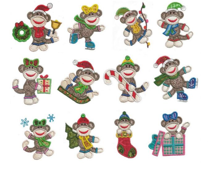 Sock monkeys christmas applique machine embroidery designs 4x4