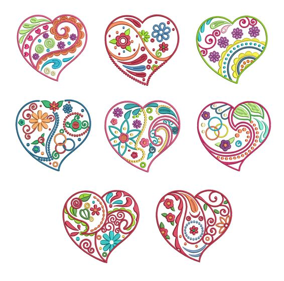 Whimsical Doodle Hearts Machine Embroidery Designs by JuJu