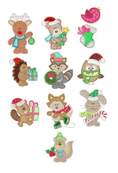 Christmas Woodland Applique Machine Embroidery Designs By JuJu