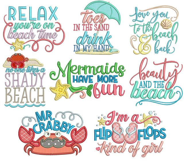 Beach Word Art 3 Machine Embroidery Designs By JuJu