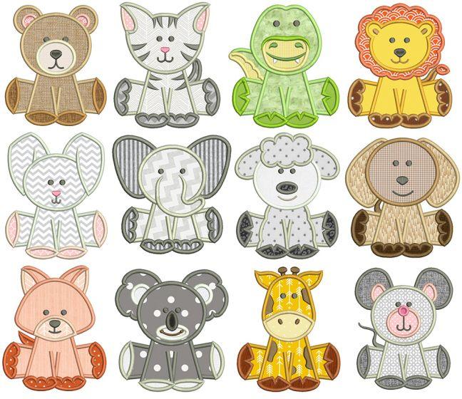 Cute Animals Applique Machine Embroidery Designs By JuJu