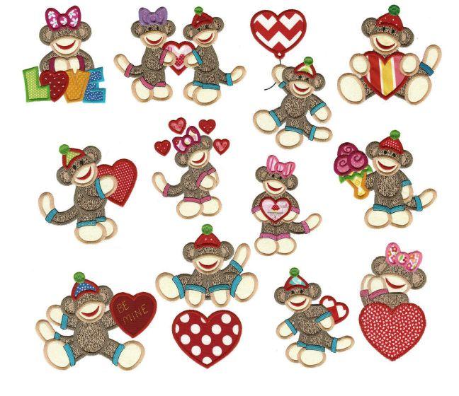 Valentine sock monkeys applique machine embroidery designs