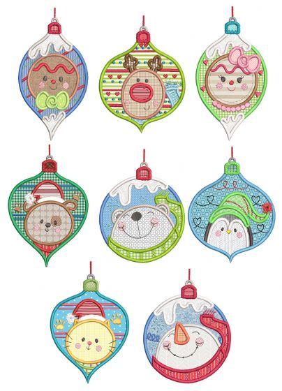 Ornament Faces Applique Machine Embroidery Designs By JuJu