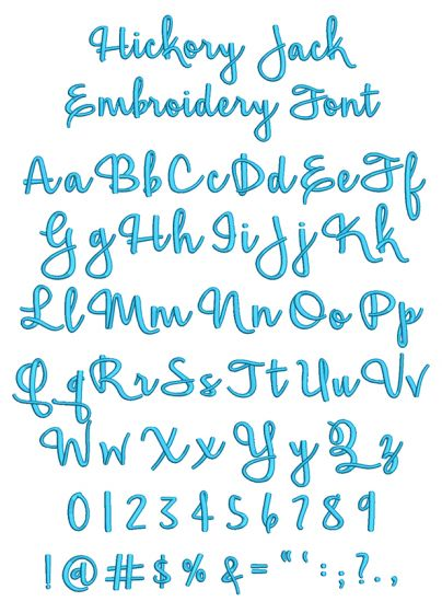 Hickory Jack Embroidery Font Machine Embroidery Designs By JuJu