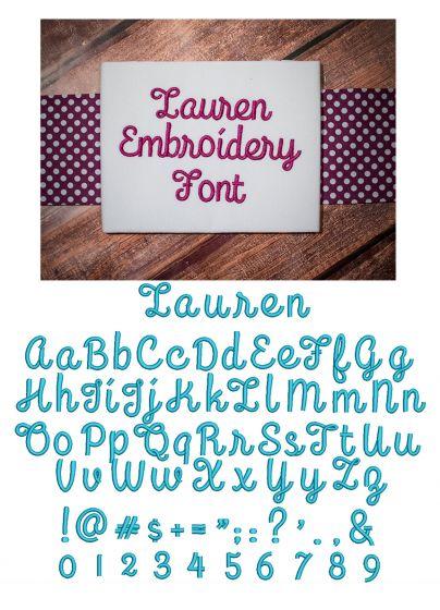 Lauren Script Embroidery Font Monogram Alphabet Designs by JuJu Machine Embroidery Designs