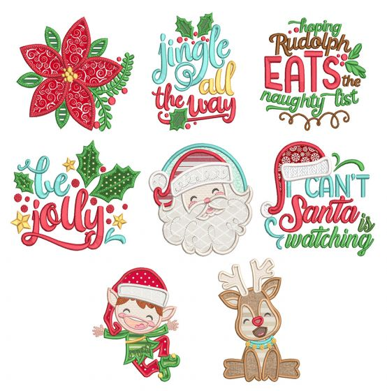 Be Jolly 1 Machine Embroidery Designs By JuJu