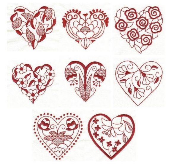 Jacobean Hearts Redwork