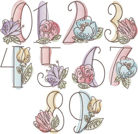 Vintage Sketch Blooming Numbers