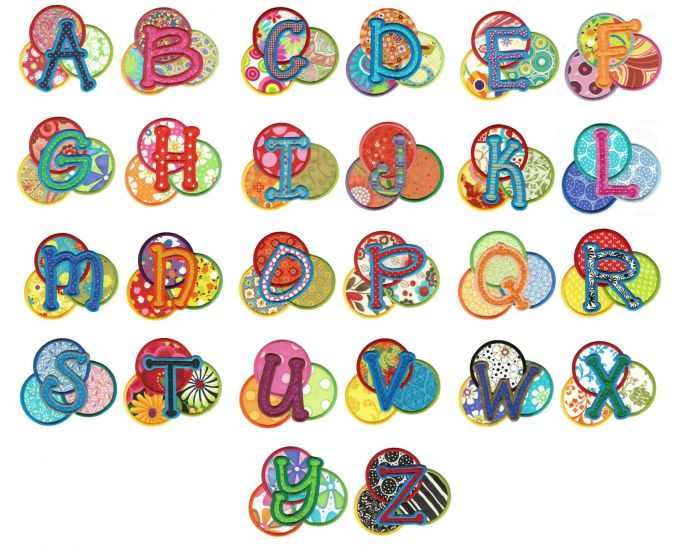 Delightful dots embroidery applique monogram font and alphabet