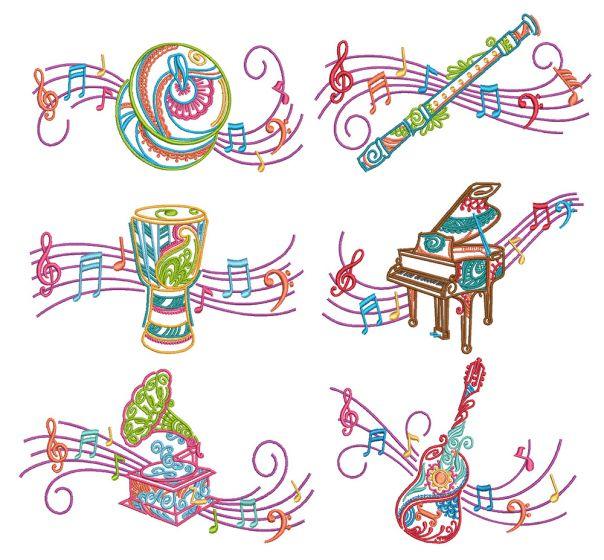 Mehndi Music 3 Machine Embroidery Designs By JuJu