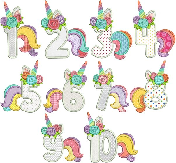 Unicorn Numbers Applique Machine Embroidery Designs By JuJu