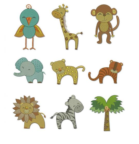 cute jungle animals machine embroidery designs