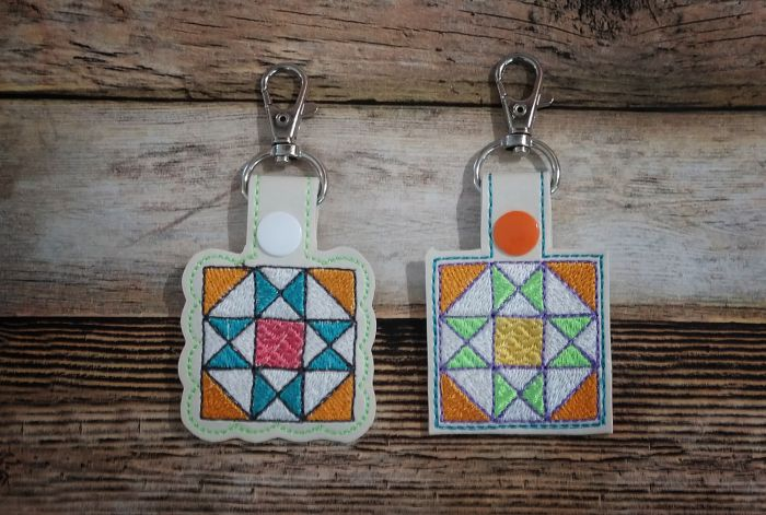 In The Hoop Snap Tab Key Fob Ohio Star Quilt Block Designs by JuJu Machine Embroidery Designs
