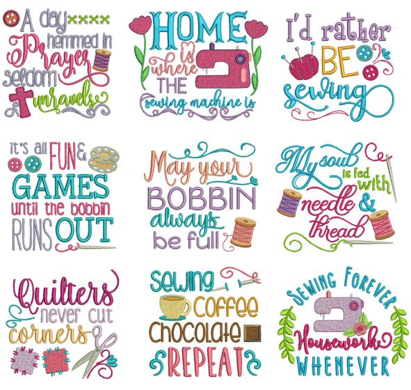 Sewing Sayings Set 1 Machine Embroidery Designs by JuJu